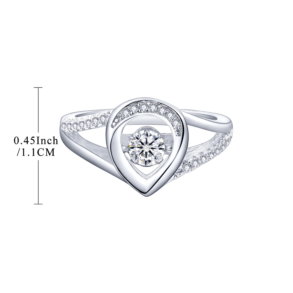 Sterling Silver Pear Shaped Engagement Ring With Dancing CZ