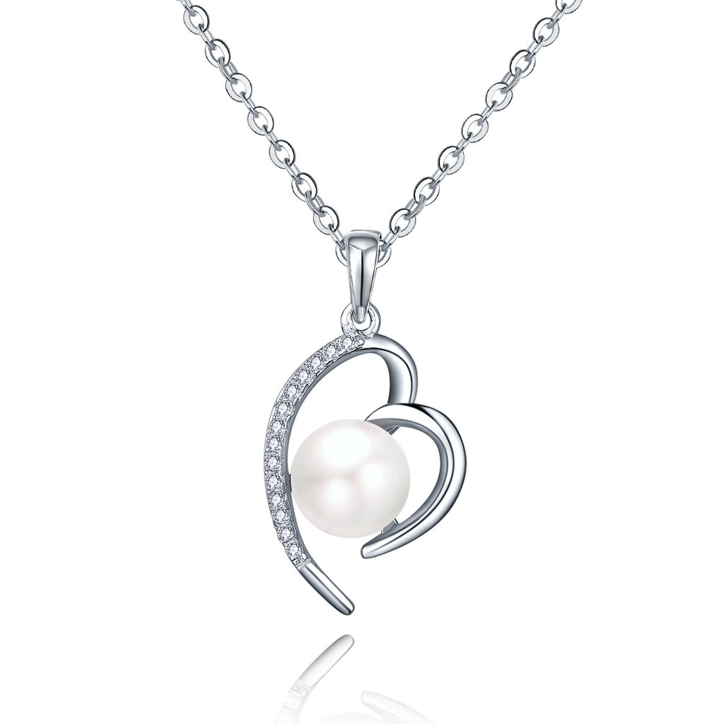 Sterling Silver Heart Freshwater Pearl Necklace