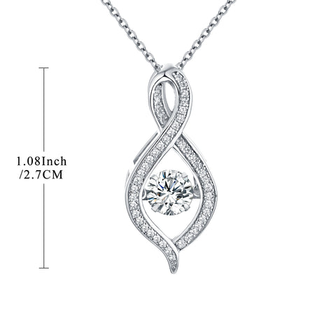 Sterling Silver Dancing Cubic Zirconia Infinity Necklace
