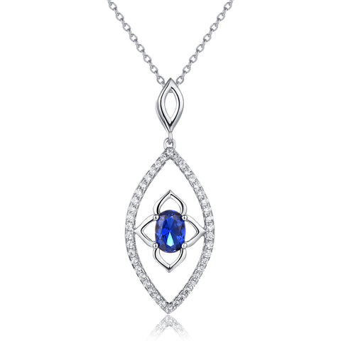 Sterling Silver Leaf Necklace Built-In Blue Spinel Flower