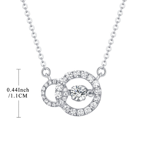Sterling Silver Dancing Cubic Zirconia Circle Pendant Necklace