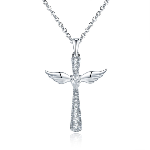 Sterling Silver Angel Wing Cross Necklace