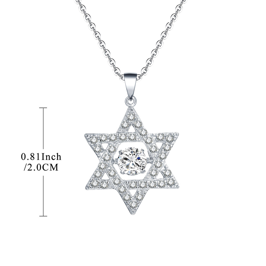 Sterling Silver Dancing Cubic Zirconia Star Pendant Necklace