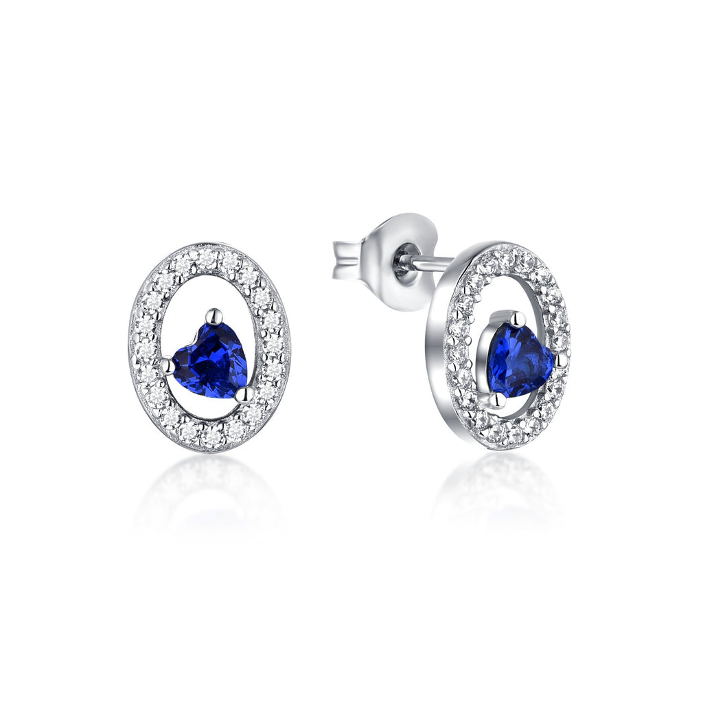 Silver Stud Earrings Oval Shape With Blue Spinel