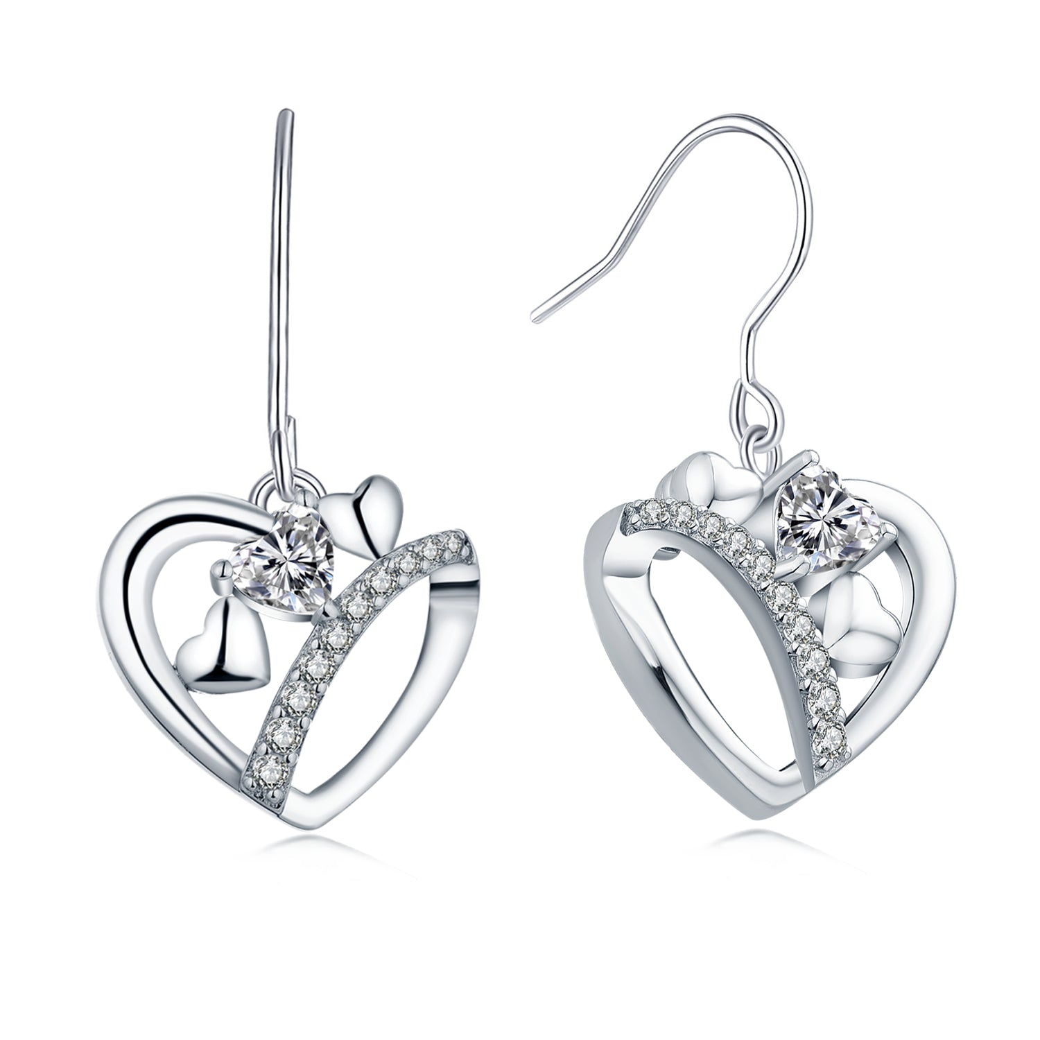 Sterling Silver Open Heart Drop Earrings With Topaz