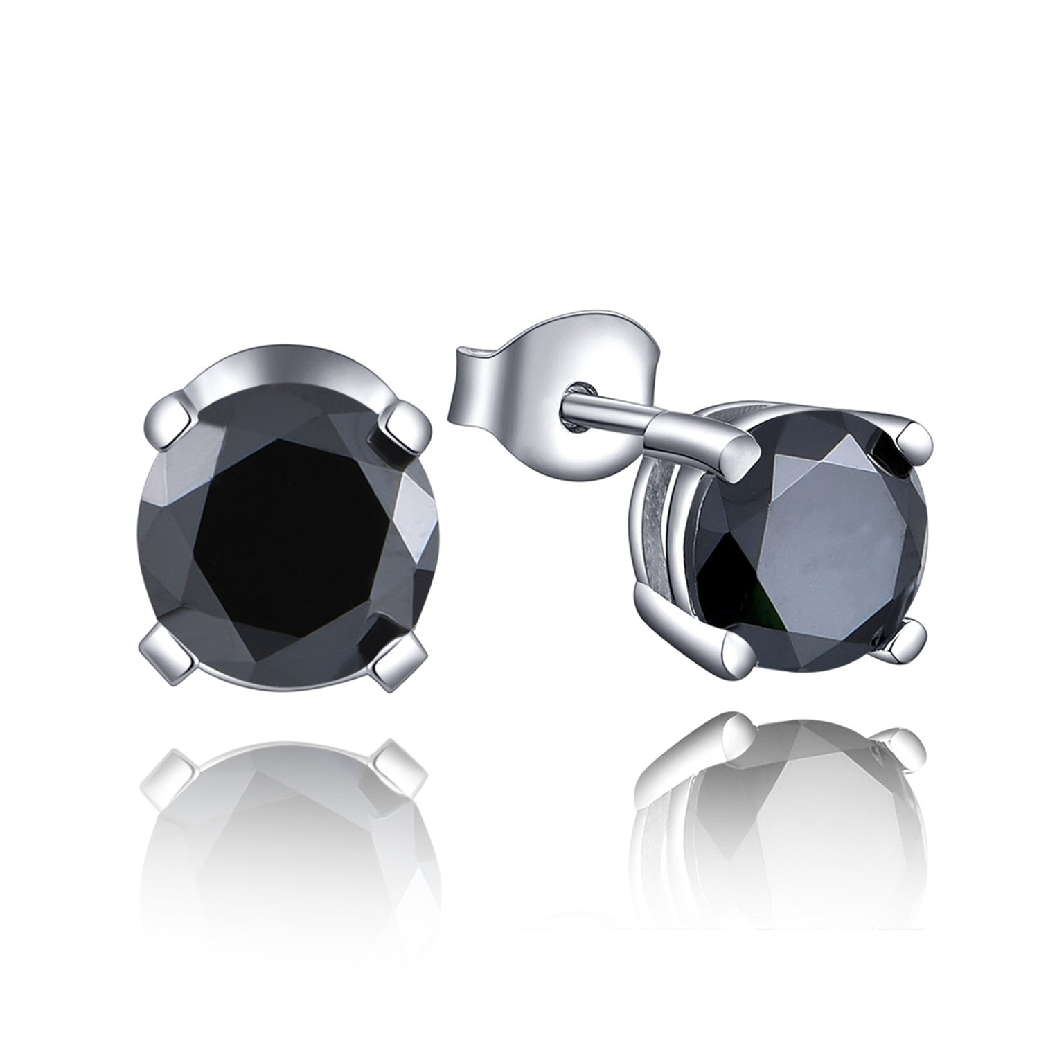 Basket-Set Round Black CZ Sterling Silver Stud Earrings