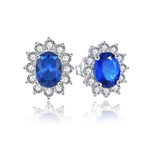 Classical Oval Flower Silver Stud Earrings With CZ Halo