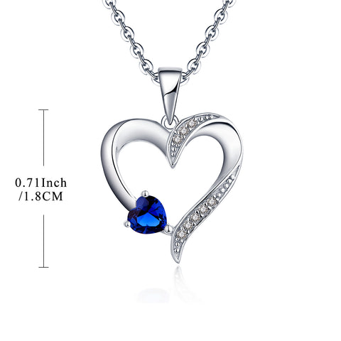 925 Sterling Silver Blue Heart Pendant Necklace