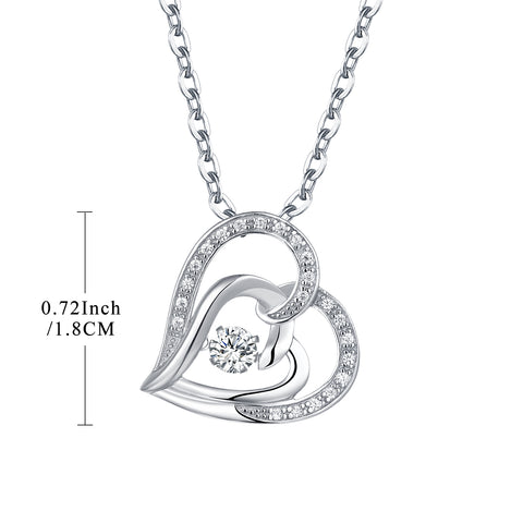 925 Sterling Silver CZ Stone Heart Dancing  Necklace