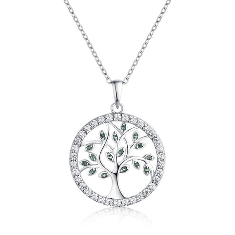 Silver Tree Of Life Necklace With Green Spinel And CZ