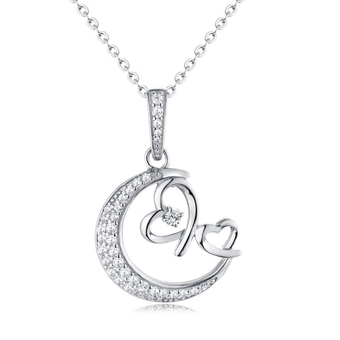 Moon & Double Heart Sterling Silver Necklace With CZ