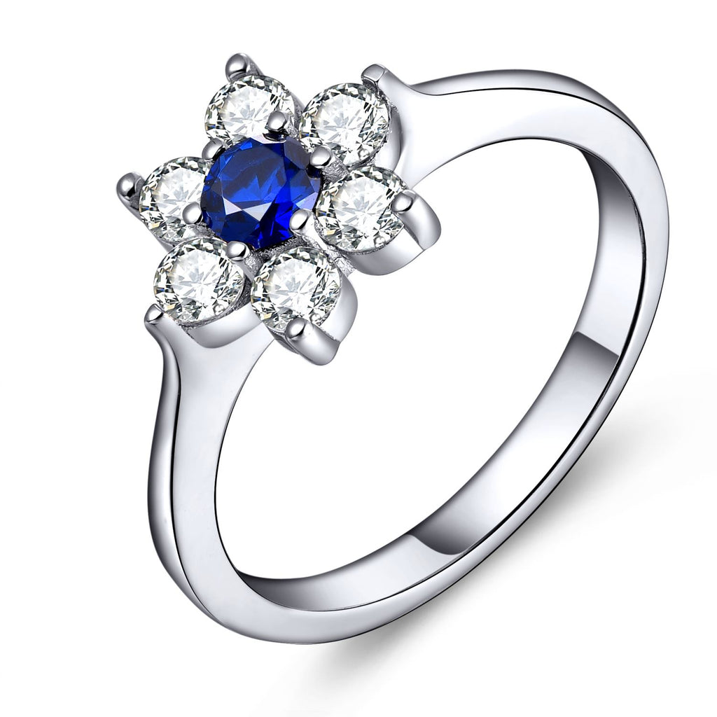 925 Silver Created Blue Spinel Flower Ring