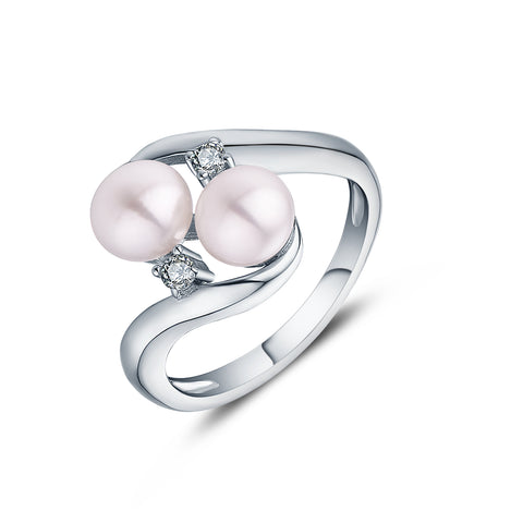 Sterling Silver 7 MM Double pearl Elegant Rings