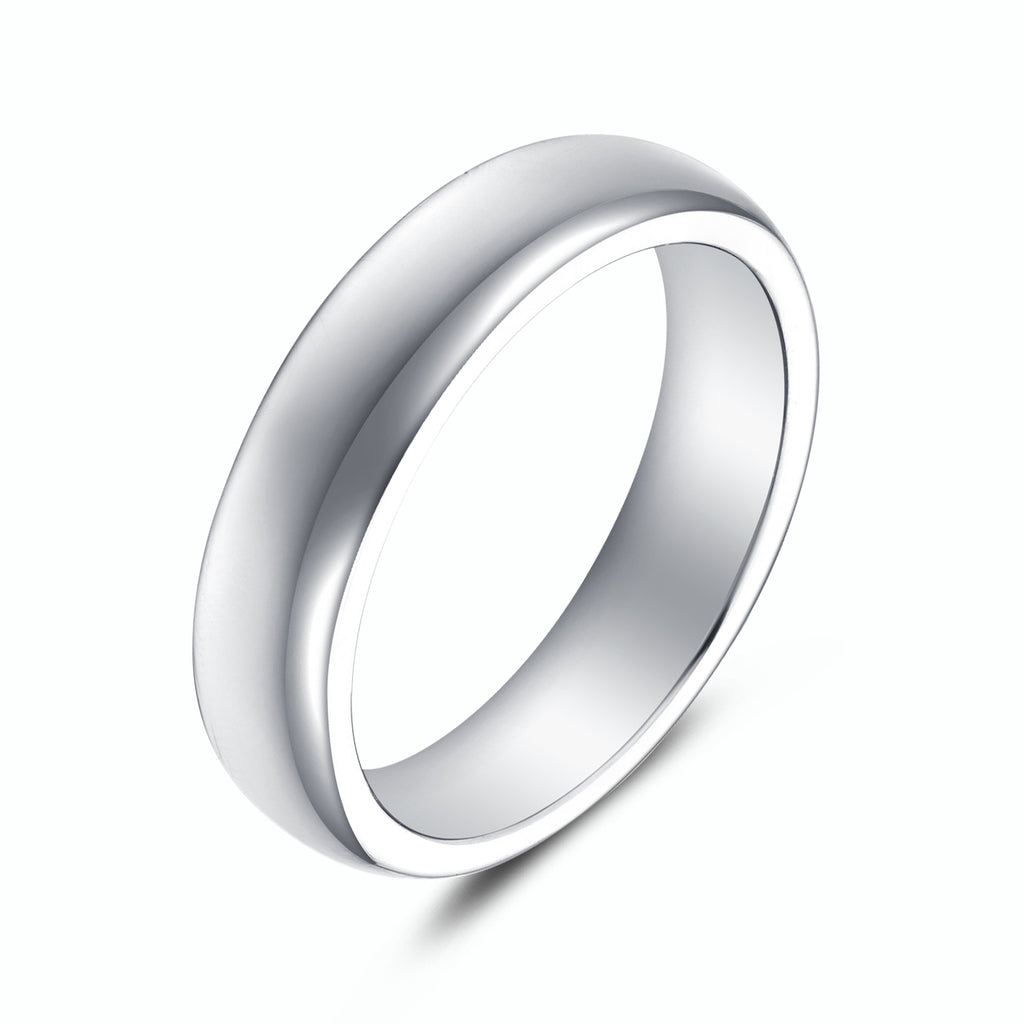 High Polished Plain Dome Wedding Band Ring