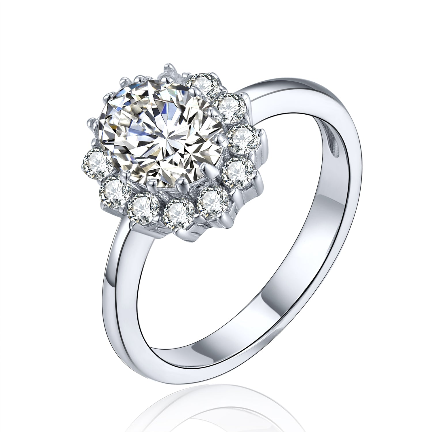 Classical Oval Sterling Silver Flower Ring with CZ Halo