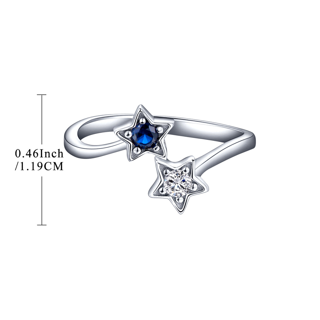 Sterling Silver Simulated Spinel Star Ring