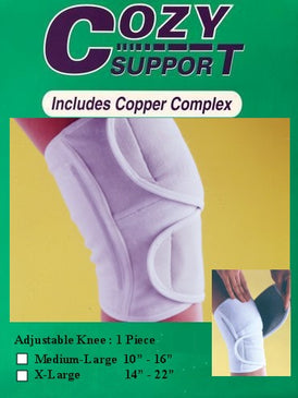118 Adjustable Knee Superior - Cozy Support Raal Copper Complex support generates electricity to work with your body to ease stiffness aand pain while you sleep. Special technology from Japan
