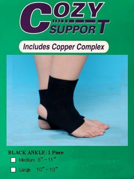 107 Ankle Standard (BLK) - Cozy Support Raal Copper Complex support generates electricity to work with your body to ease stiffness aand pain while you sleep. Special technology from Japan
