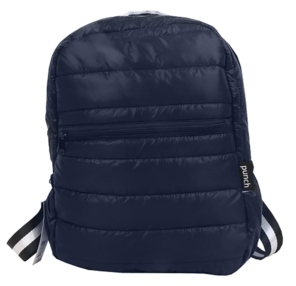PUNCH Puffer Backpack Navy with Navy/White Straps