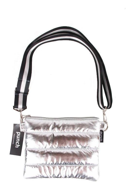 PUNCH Puffer Crossbody Silver Blk/Silv Straps