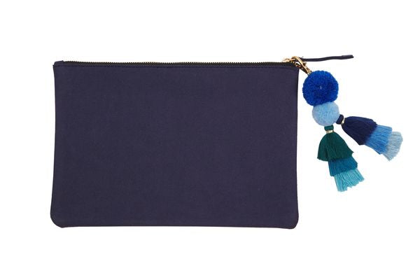 PUNCH Large Suede Pouch Bag w/Tassle Navy 28x18cm