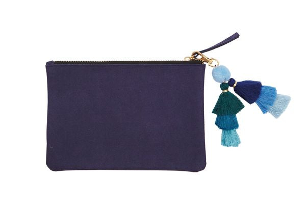 PUNCH Med Suede Pouch Bag w/Tassle Navy 22x15cm