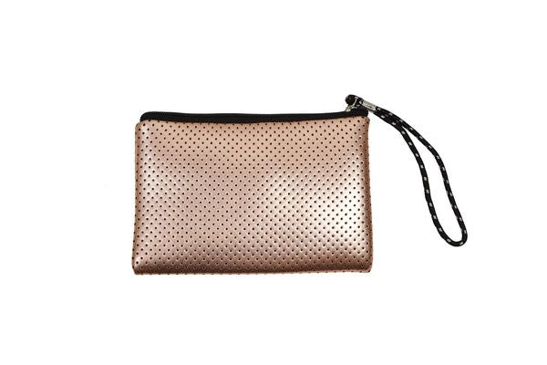 PUNCH Neoprene Clutch Bag Metallic Rose Gold 22x15cm