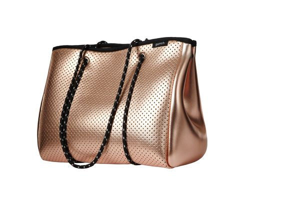 PUNCH Neoprene Tote Bag Metallic Rose Gold 34x26x16cm