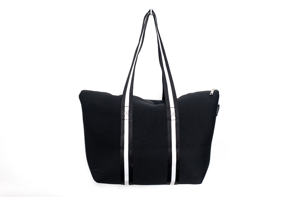 PUNCH Neoprene Tote bag Black with black/white stripe handles