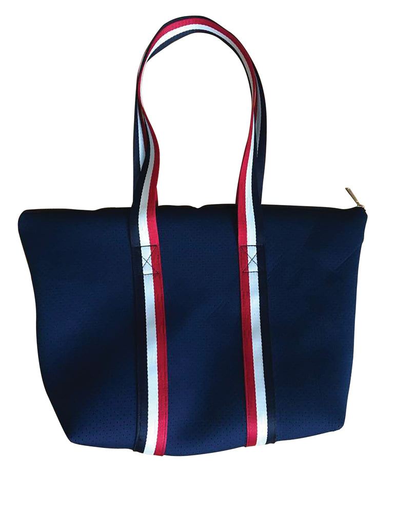 PUNCH Neoprene Tote bag Navy with navy/white/red stripe handles