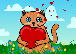 Cute cat holding heart