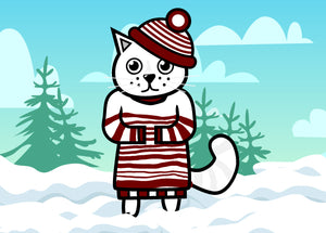 White cat in winter hat and sweater standing in snow location