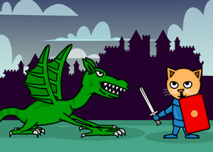 Cat knight Geaorge fighting the dragon