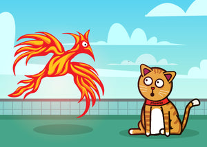 Cat named Phoenix meets Phoenix bird