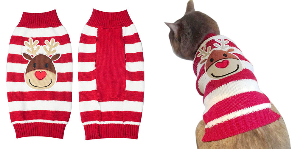 christmas gift cat reindeer xmas sweater