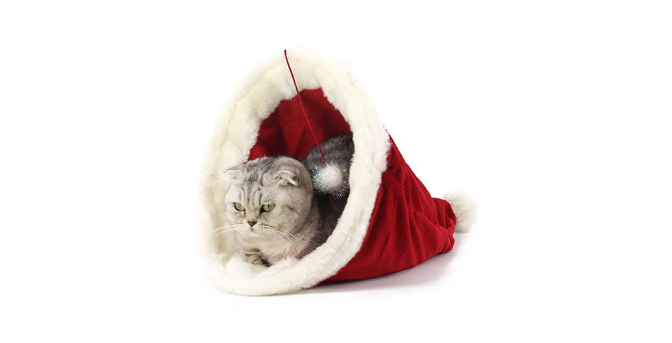 christmas gift cat santa hat cat bed