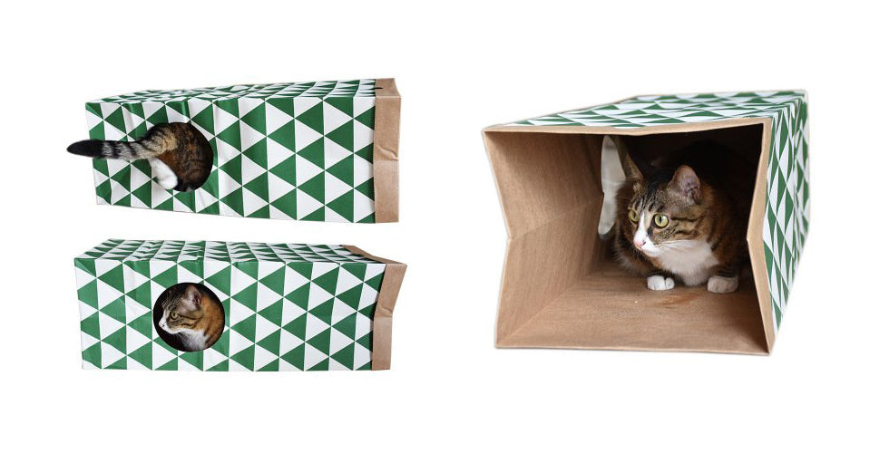 christmas gift cat sneak paper bag cat tunnel