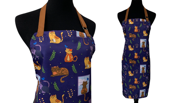 blue with brown detail cat apron print