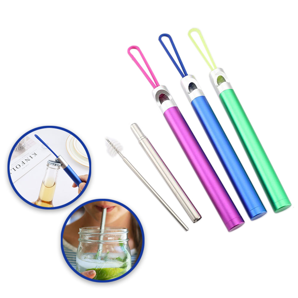 3-Pack Stainless Steel Straws with Bottle Opener