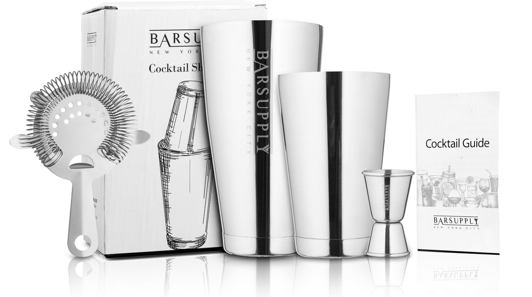 Professional 4-Piece Boston Cocktail Shaker Set