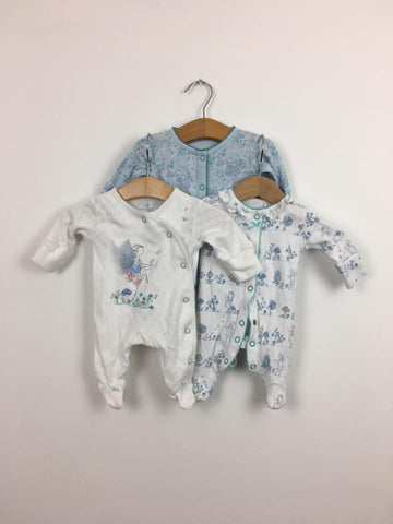 small baby NEXT blue flower fairy sleepsuits upto 5lb