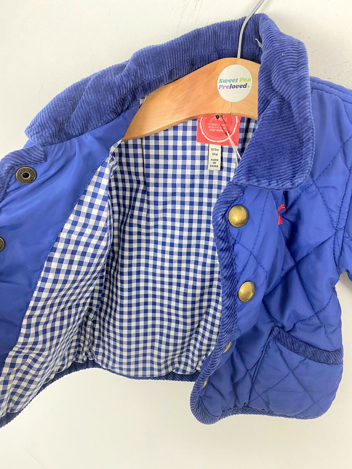 0-3m Joules navy quilted jacket like new