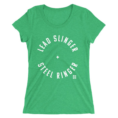Lead Slinger + Steel Ringer Ladies T-Shirt