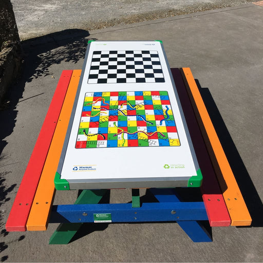 Junior Picnic Bench Including Gameboard Top - Outdoor Outdoor Recycled