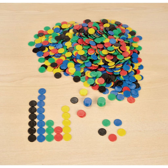 Plastic Counters Pack -1000 - Maths Number Works & Games Sorting & Counting