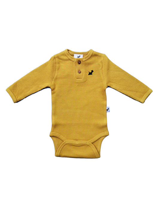 Waffle Organic Cotton Body Suit - Nugget Gold
