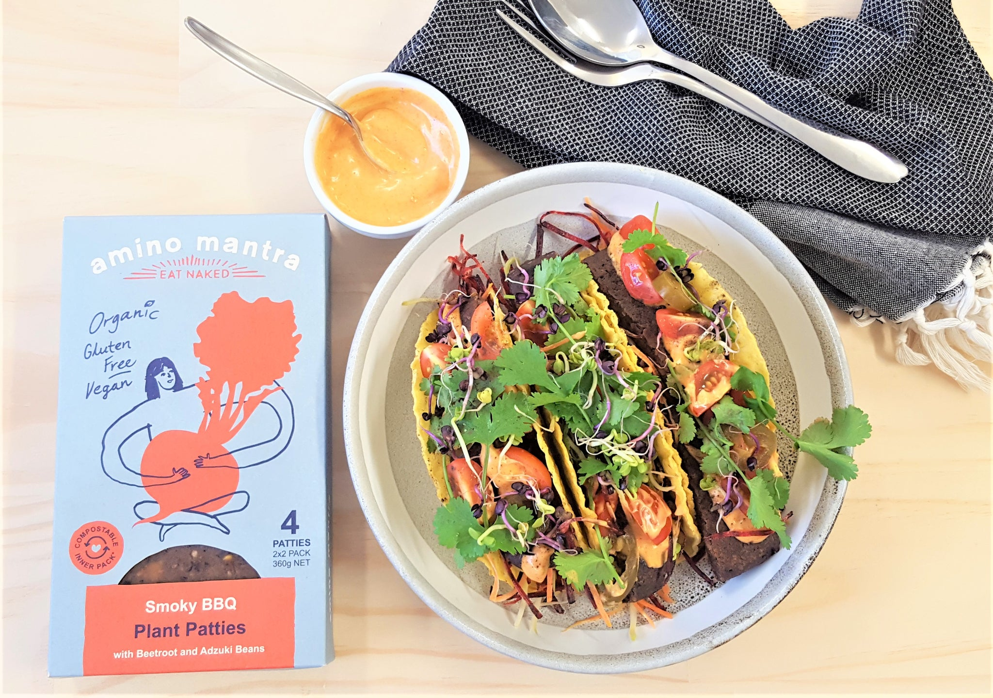 Amino Mantra Vegan Taco with Smoky BBQ Plant Patties