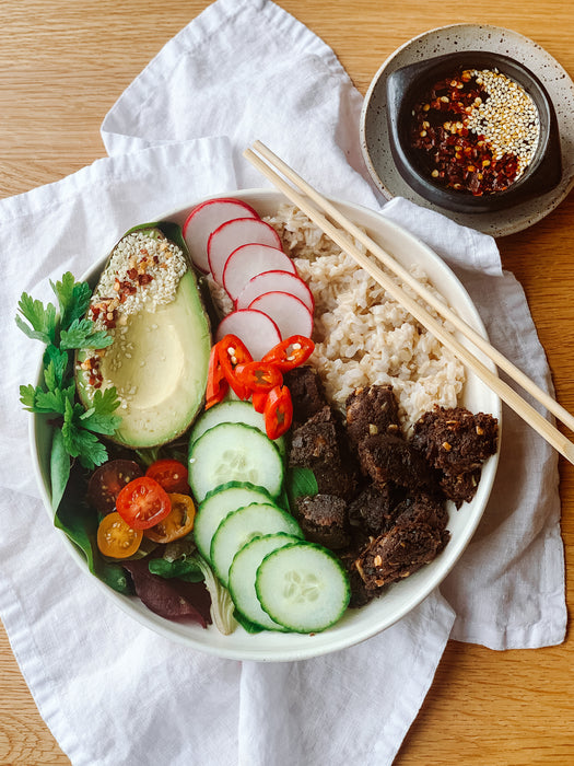 Vegan Poke Bowl with Smoky BBQ Patties