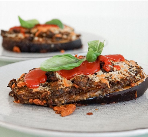 Roasted Stuffed Eggplant with Black Truffle and Thyme Patties