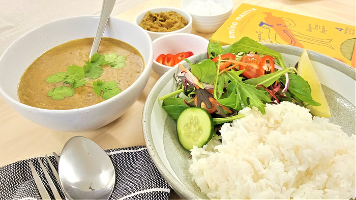 Fijian Turmeric & Cumin Daal with Steamed Rice, Fresh Salad, Pickle & Yogurt